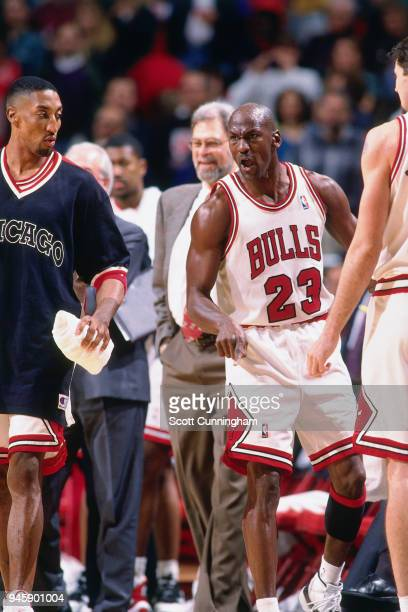 Michael Jordan of the Chicago Bulls during the game against the Indiana Pacers on April 20 1996 at the United Center in Chicago Illiniois NOTE TO...