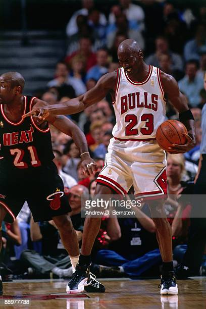 Michael Jordan of the Chicago Bulls gestures in Game Two of the Eastern Conference Finals during the 1997 NBA Playoffs at the United Center on May 22...