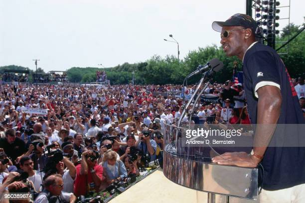 Michael Jordan of the Chicago Bulls gives a speech during the 1998 Chicago Bulls Celebration Rally on June 16 1998 at Grant Park in Chicago Illinois...