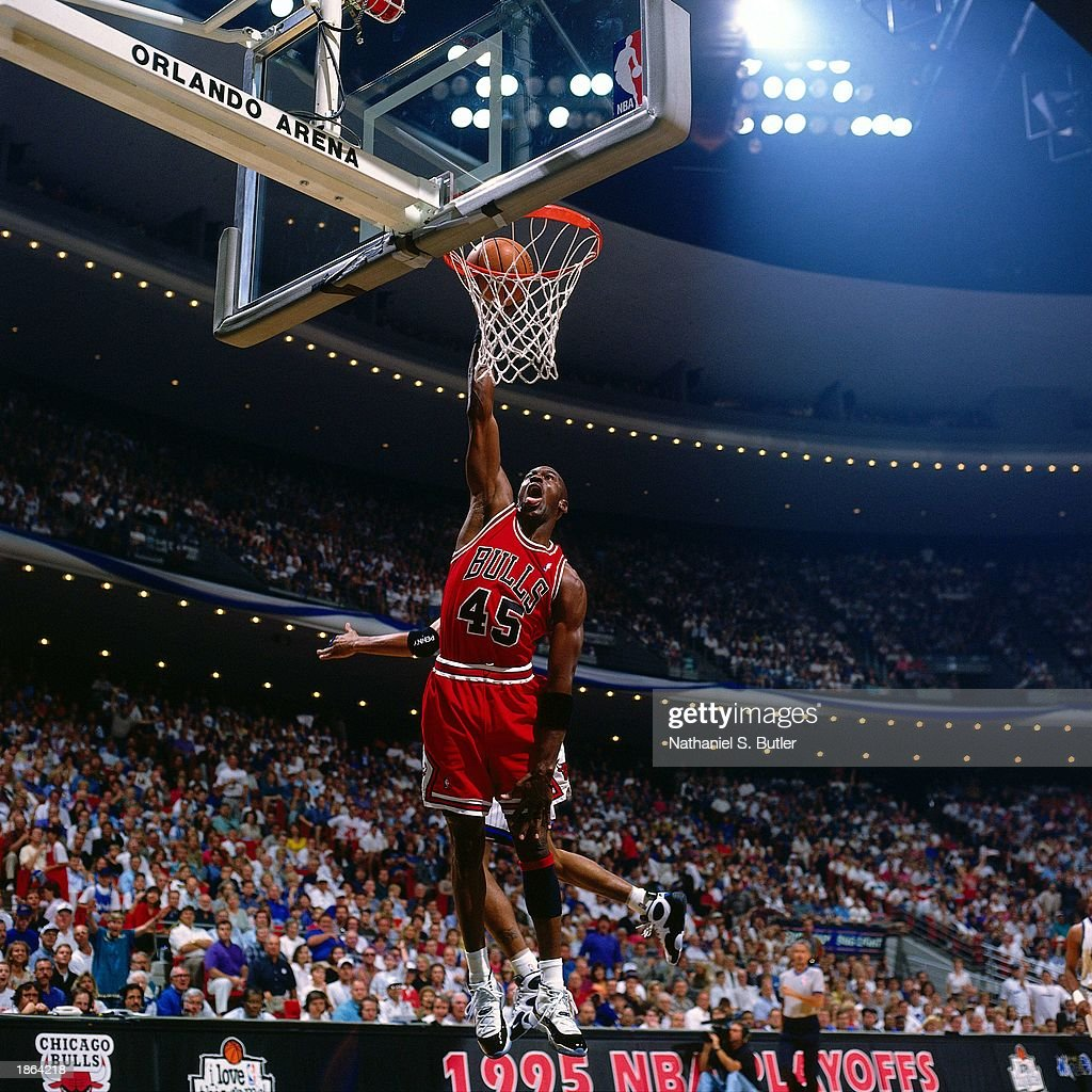 Michael Jordan Of The Chicago Bulls Goes For A Dunk