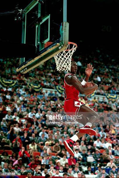 Michael Jordan of the Chicago Bulls goes for a dunk during the 1985 NBA All Star Slam Dunk Competition at the Hoosier Dome on February 10, 1985 in...