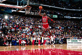 Michael jordan of the chicago bulls goes for a dunk during the 1988 picture id1449916?s=170x170