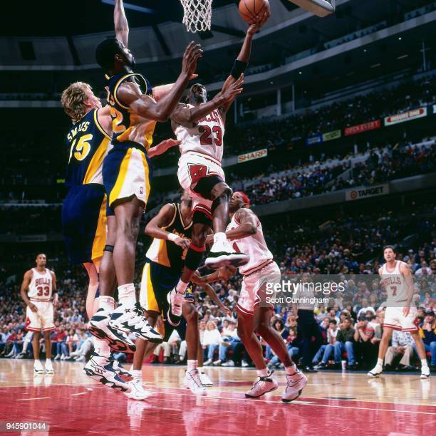 Michael Jordan of the Chicago Bulls goes to the basket against the Indiana Pacers on April 20 1996 at the United Center in Chicago Illiniois NOTE TO...