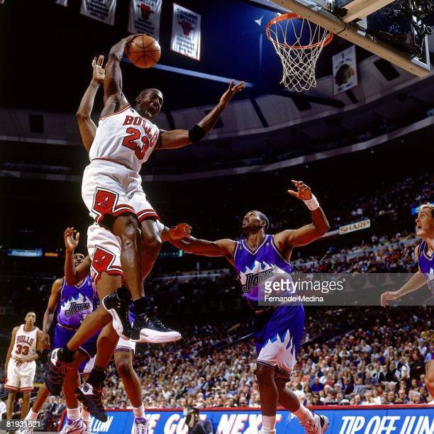 Michael Jordan of the Chicago Bulls grabs a rebound in Game Two of the 1997 NBA Finals against the Utah Jazz at the United Center on June 2 1997 in...
