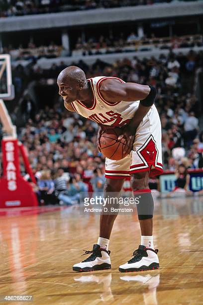 Michael Jordan of the Chicago Bulls handles the ball circa 1995 at the United Stadium in Chicago Illinois NOTE TO USER User expressly acknowledges...
