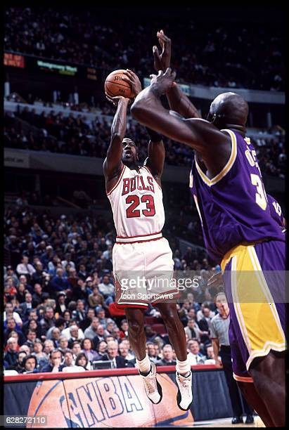 Michael Jordan of the Chicago Bulls in action during the Bulls' game versus the Los Angeles Lakers at the United Center in Chicago IL