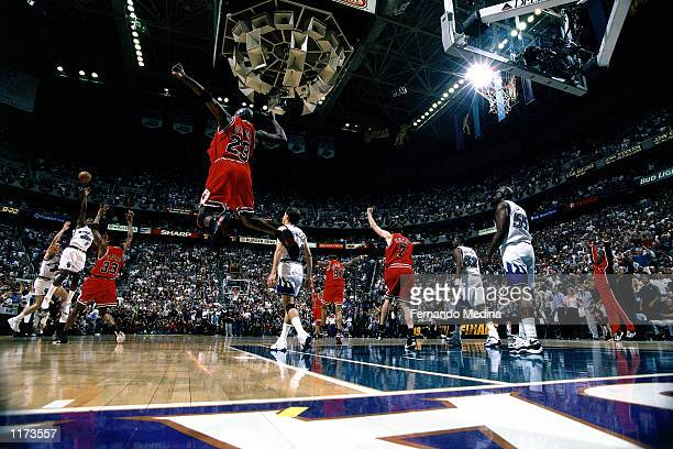 Michael Jordan of the Chicago Bulls in celebration after winning the Finals against the Utah Jazz for the Bulls sixth NBA title, 87-86 at the Delta...