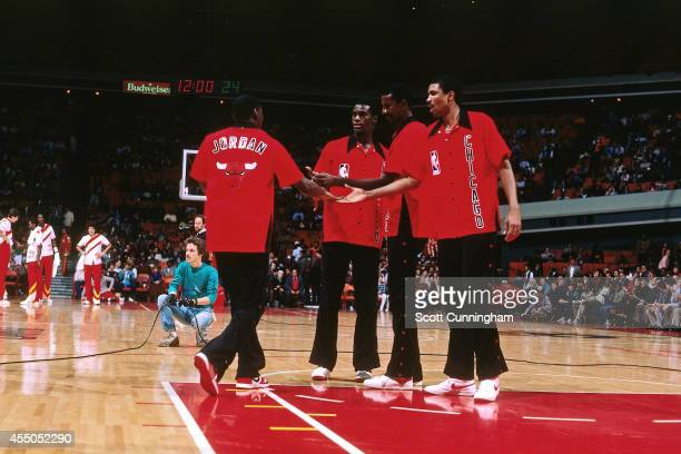 Michael Jordan of the Chicago Bulls is introduced against the Atlanta Hawks during a game played circa 1984 at the OMNI in Atlanta Georgia NOTE TO...