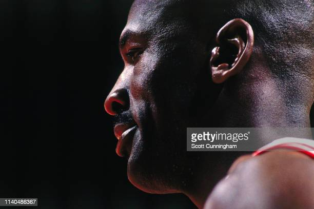 Michael Jordan of the Chicago Bulls looks on against the Charlotte Hornets on May 6, 1998 at the United Center in Chicago, Illinois. NOTE TO USER:...