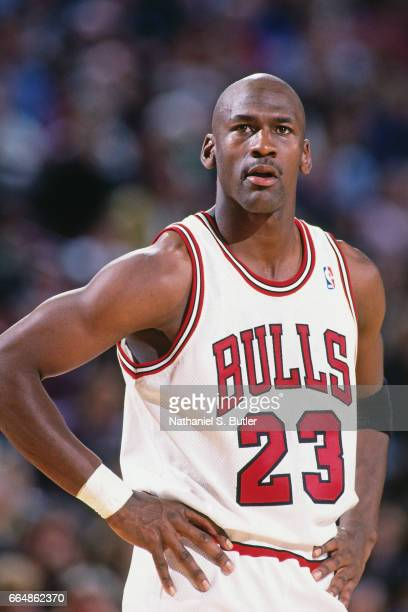 Michael Jordan of the Chicago Bulls looks on during a game circa 1993 at Chicago Stadium in Chicago Illinois NOTE TO USER User expressly acknowledges...