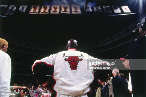 Michael Jordan of the Chicago Bulls looks on during a game played on November 1 1997 at the First Union Arena in Philadelphia Pennsylvania NOTE TO...