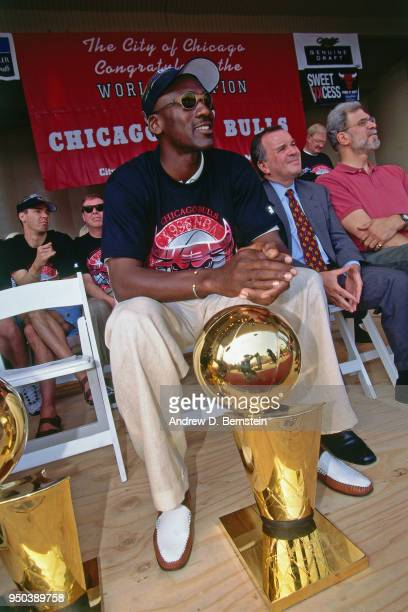 Michael Jordan of the Chicago Bulls looks on during the 1998 Chicago Bulls Celebration Rally on June 16 1998 at Grant Park in Chicago Illinois NOTE...