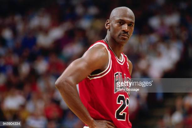 Michael Jordan of the Chicago Bulls looks on during the game against the Orlando Magic on April 7 1996 at the Orlando Arena in Orlando Florida NOTE...