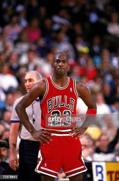 Michael Jordan of the Chicago Bulls looks on during the game. Mandatory Credit: Ken Levine /Allsport