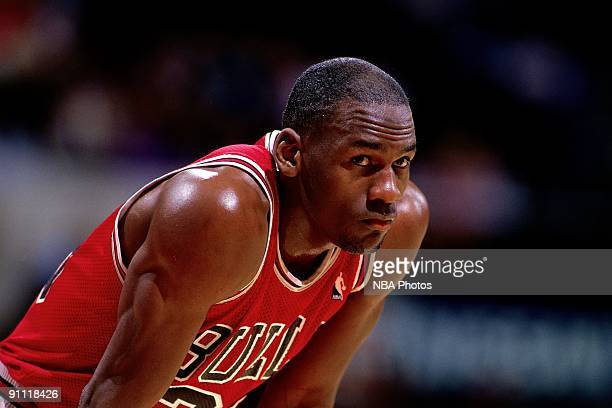 Michael Jordan of the Chicago Bulls looks on durng a NBA game. Michael Jordan played for the Chicago Bull from 1981 through 1998. NOTE TO USER: User...