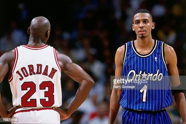Michael Jordan of the Chicago Bulls matches up against Anfernee Hardaway of Orlando Magic during Game Three of the 1995 Easter Conference SemiFinals...