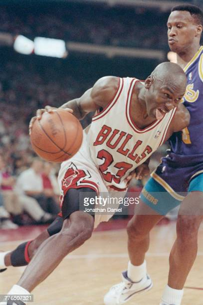Michael Jordan of the Chicago Bulls of the Eastern Conference during game 1 of the National Basketball Association Finals game against the Los...