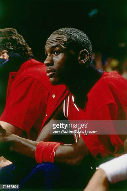 Michael Jordan of the Chicago Bulls on the bench during a regular season game against the Washington Bullets circa 1984 at the Capital Centre in...