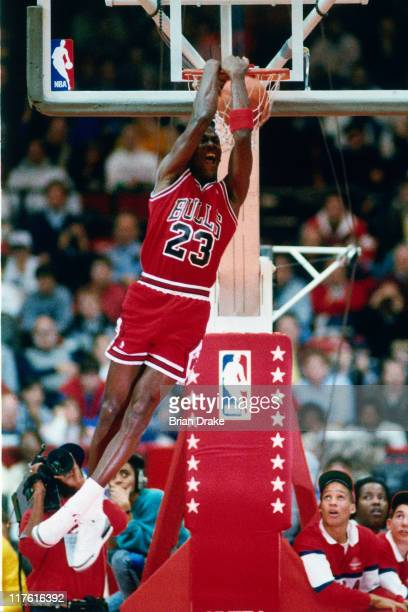 Michael Jordan of the Chicago Bulls performs in the NBA AllStar Weekend Slam Dunk Contest on February 6 1988 at The Chicago Stadium in Chicago...