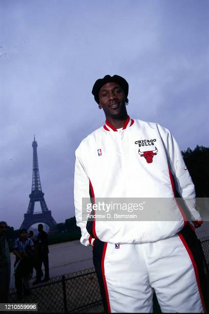 Michael Jordan of the Chicago Bulls poses for a portrait as part of the 1997 McDonald's Championships at the Eiffel Tower on October 16 1997 in Paris...