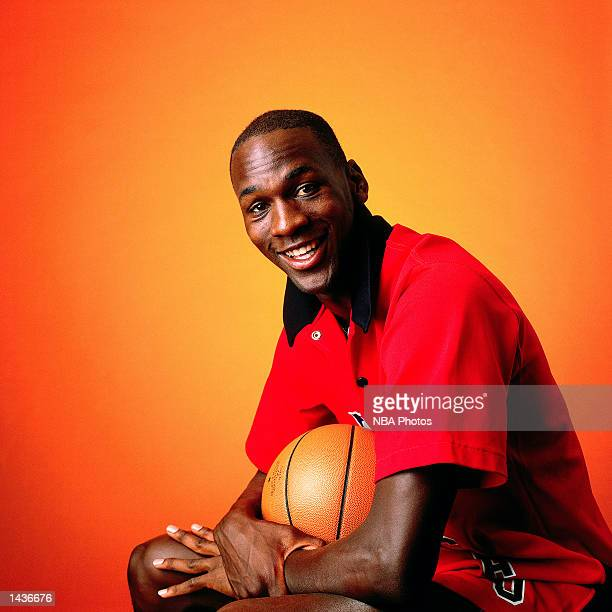 Michael Jordan of the Chicago Bulls poses for a portrait in 1986 during a photo shoot in Chicago Illinois NOTE TO USER User expressly acknowledges...