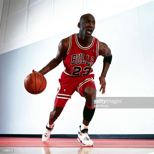 Michael Jordan of the Chicago Bulls poses for a portrait in Chicago Illinois during the 1985 NBA season NOTE TO USER User expressly acknowledges and...