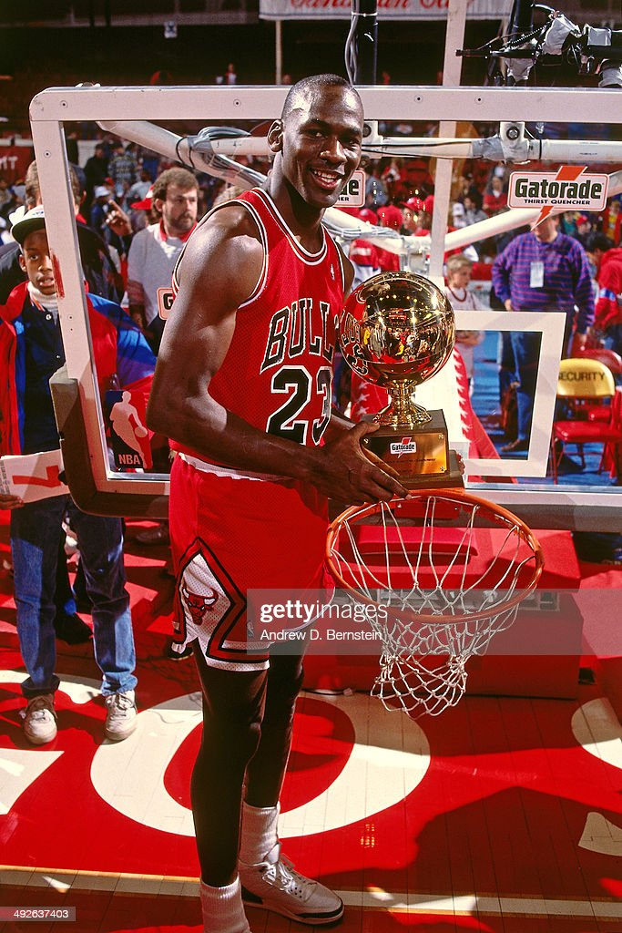 Michael Jordan 23 Of The Chicago Bulls Poses With Trophy After Winning 1988