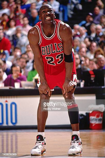 Michael Jordan of the Chicago Bulls reacts against the Portland Trailblazers on February 7 1993 at Veterans Memorial Coliseum in Portland Oregon The...