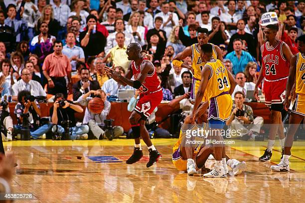Michael Jordan of the Chicago Bulls reacts during Game Five of the 1991 NBA Finals on June 12 1991 at the Great Western Forum in Inglewood California...