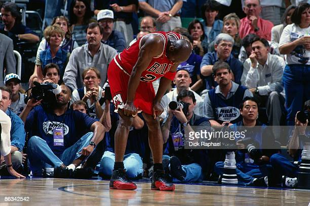 Michael Jordan of the Chicago Bulls rests during Game Five of the 1997 NBA Finals played against the Utah Jazz on June 11, 1997 at the Delta Center...