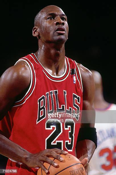 Michael Jordan of the Chicago Bulls shoots a foul shot during a game against the New York Knicks circa 1992 at Madison Square Garden In New York New...