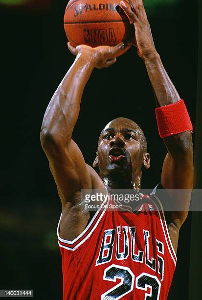 Michael Jordan of the Chicago Bulls shoots a free throw against the Washington Bullets during an NBA basketball game circa 1990 at the Capital Centre...