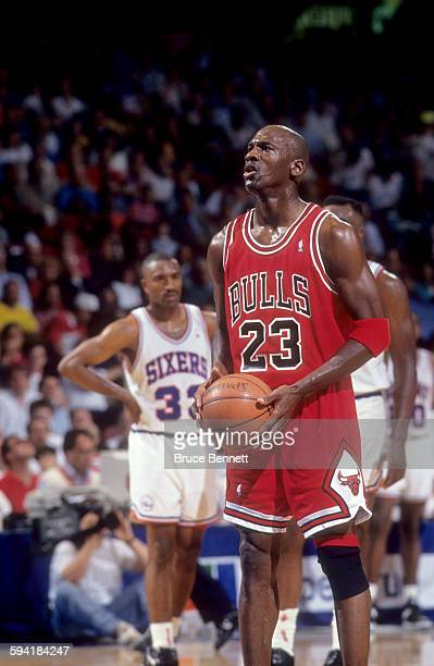 Michael Jordan of the Chicago Bulls shoots a free throw during a game in the 1991 Eastern Conference Semifinals against the Philadelphia 76ers in May...