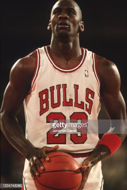 Michael Jordan of the Chicago Bulls shoots a free thrown at the Chicago Stadium in 1989 in Chicago Illinois