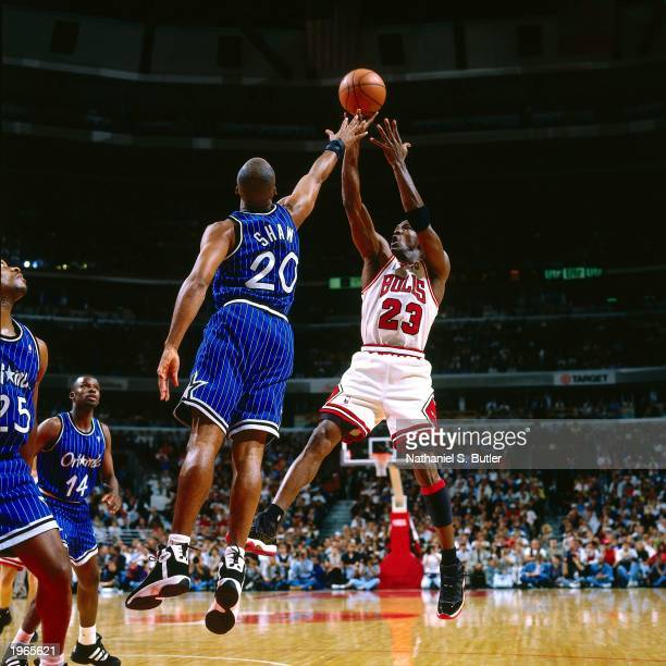 Michael Jordan of the Chicago Bulls shoots a jump shot against the Orlando Magic in Game two of the Eastern Conference Finals during the 1996 NBA...