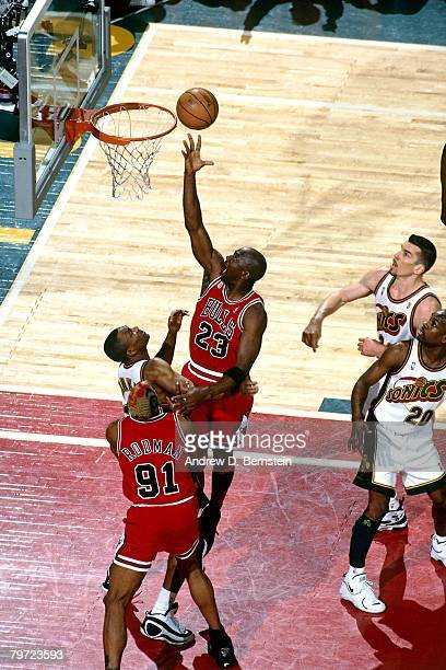 Michael Jordan of the Chicago Bulls shoots a layu in Game Five of the 1996 NBA Finals against the Seattle SuperSonics at Key Arena on June 14, 1996...