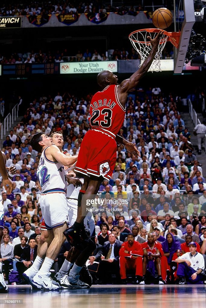 Michael Jordan #23 of the Chicago Bulls shoots a layup against the Utah Jazz in Game Six of the 1998 NBA Finals against the Chicago Bulls at the Delta Center on June 14, 1998 in Salt Lake City, Utah. The Bulls defeated the Jazz 87-86.