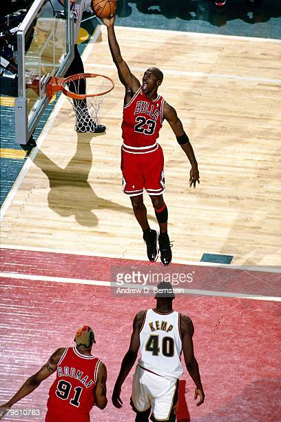 Michael Jordan of the Chicago Bulls shoots a layup in Game Four of the 1996 NBA Finals against the Seattle SuperSonics at Key Arena on June 12 1996...