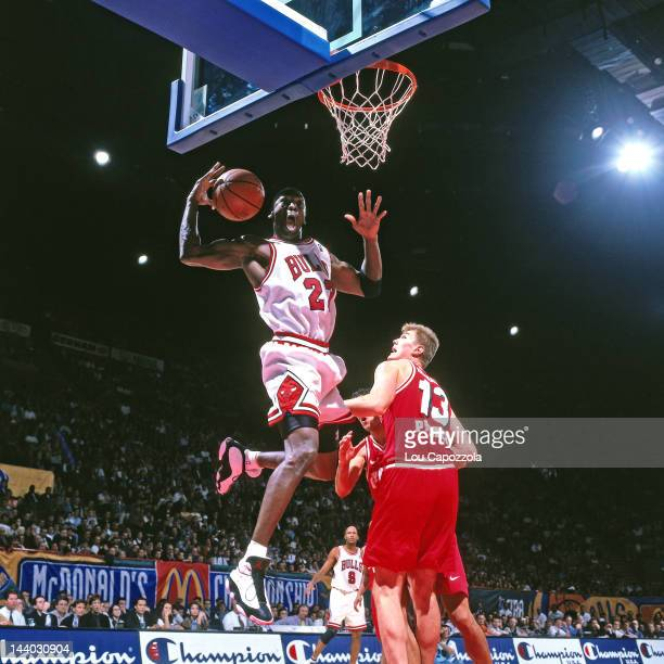 Michael Jordan of the Chicago Bulls shoots against Olympiacos as part of the 1997 McDonald's Championships on October 18 1997 at the Palais...