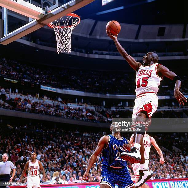 Michael Jordan of the Chicago Bulls shoots against the Orlando Magic on March 24 1995 at United Center in Chicago Illinois This game is Michael...