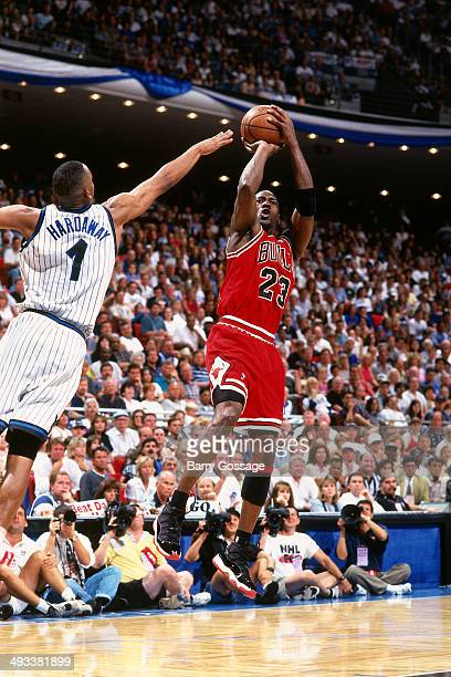 Michael Jordan of the Chicago Bulls shoots against the Orlando Magic during Game Four of the Eastern Conference Semifinals on May 27, 1996 at Orlando...