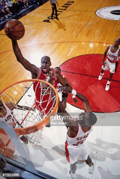 e2c50bdc28b Michael Jordan of the Chicago Bulls shoots against the Portland  Trailblazers during Game Three of the