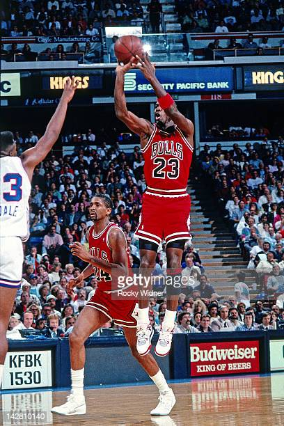 Michael Jordan of the Chicago Bulls shoots against the Sacramento Kings during a game played on November 14, 1989 at the Arco Arena in Sacramento,...