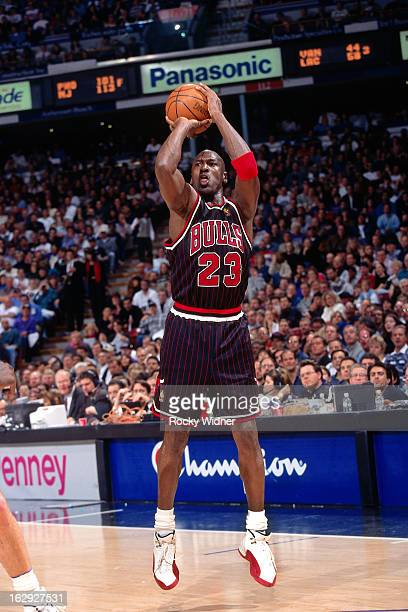 Michael Jordan of the Chicago Bulls shoots against the Sacramento Kings during a game played on January 30 1997 at Arco Arena in Sacramento...