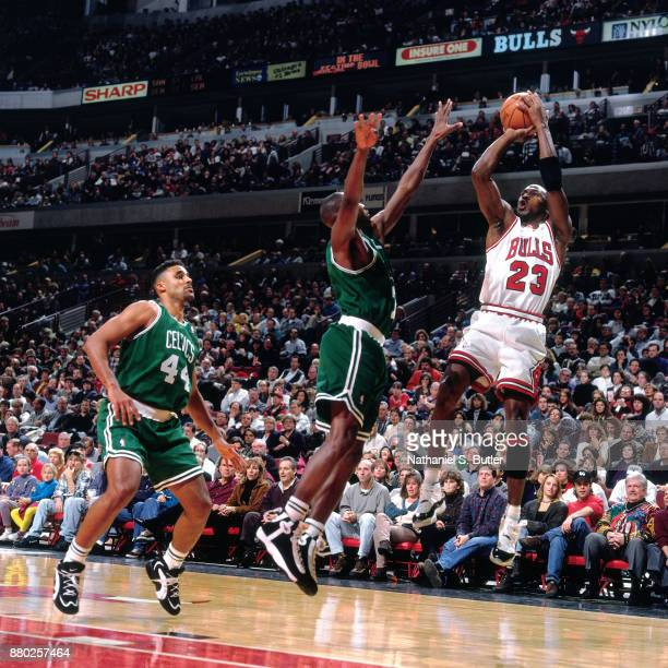 Michael Jordan of the Chicago Bulls shoots during a game played on November 4 1995 at the United Center in Chicago Illinois NOTE TO USER User...