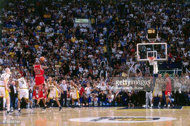 Michael Jordan of the Chicago Bulls shoots during a game played on May 25 1998 at the Market Square Arena in Indianapolis Indiana NOTE TO USER User...