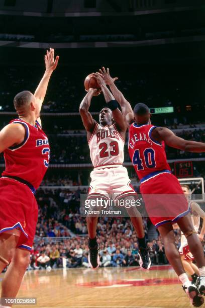 Michael Jordan of the Chicago Bulls shoots the ball against the Washington Bullets on April 27 1997 during Game One of the NBA Eastern Conference...