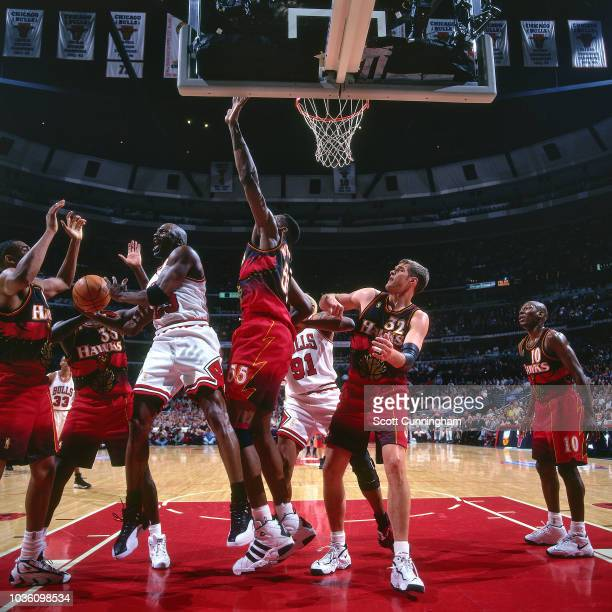 Michael Jordan of the Chicago Bulls shoots the ball during the game against the Atlanta Hawks on May 6 1997 at the United Center in Chicago IL NOTE...