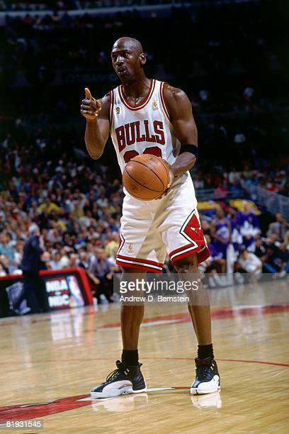 Michael Jordan of the Chicago Bulls shows emotion as he looks to make a move in Game One of the 1997 NBA Finals against the Utah Jazz at the United...