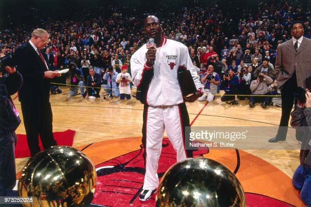 Michael Jordan of the Chicago Bulls speaks during a game played on November 1 1997 at the First Union Arena in Philadelphia Pennsylvania NOTE TO USER...